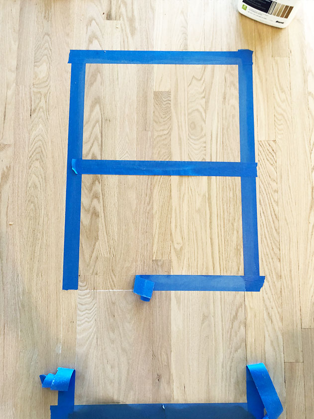 Tape off sections to test your stains and finishes