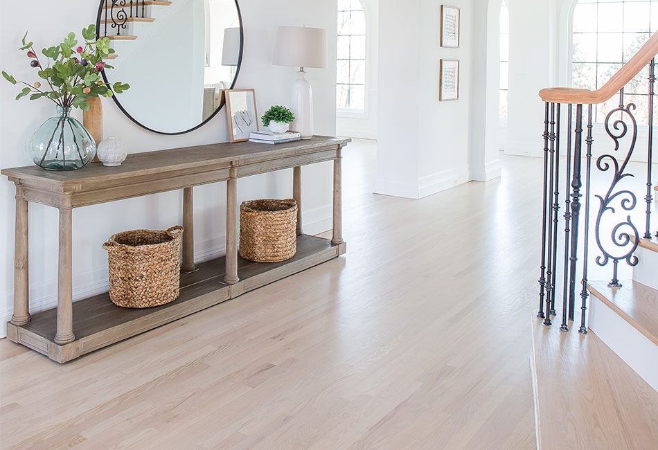 Refinish red oak floors and remove the red tones to reveal a stunning natural look!