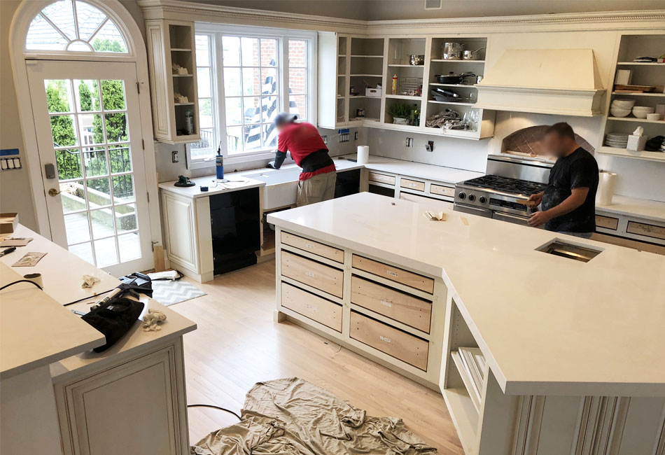 Countertop installation at The Arched Manor